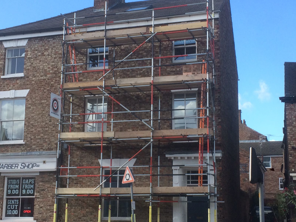 scaffolding on a three storey town house