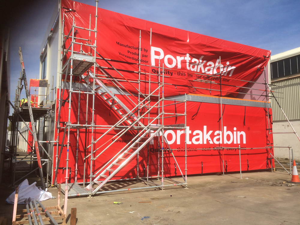 Portakabin scaffolding on a building site