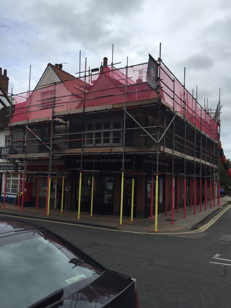 safe scaffolding on a pavement