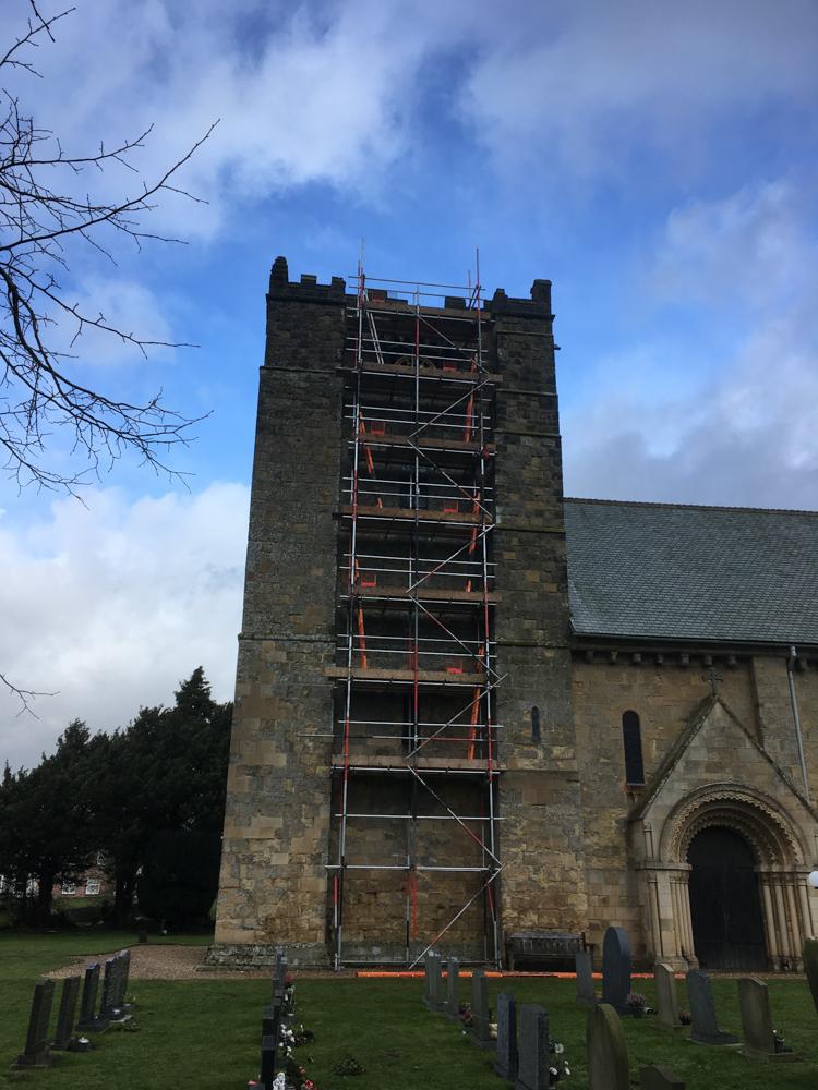 scaffolding on a church